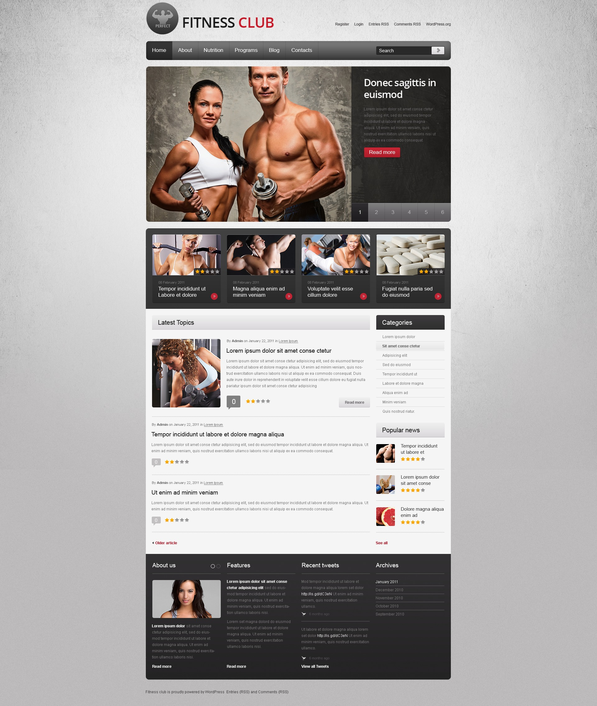 Tema De WordPress #40183 para Sitio de Fitness - captura de pantalla