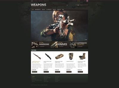 Template ZenCart  №40175 para Sites de Loja de Armas
