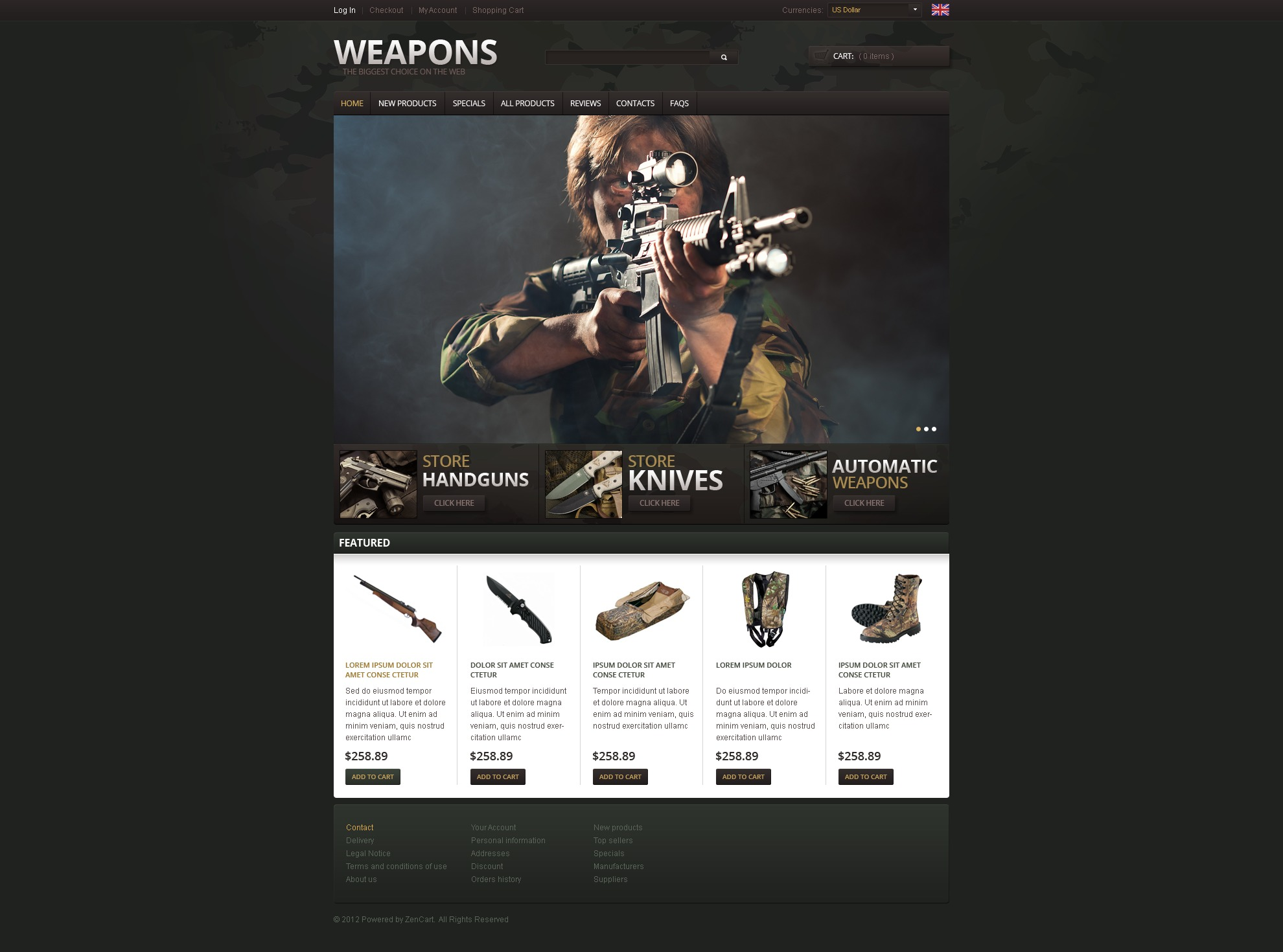 Weapons for Connoisseurs ZenCart Template