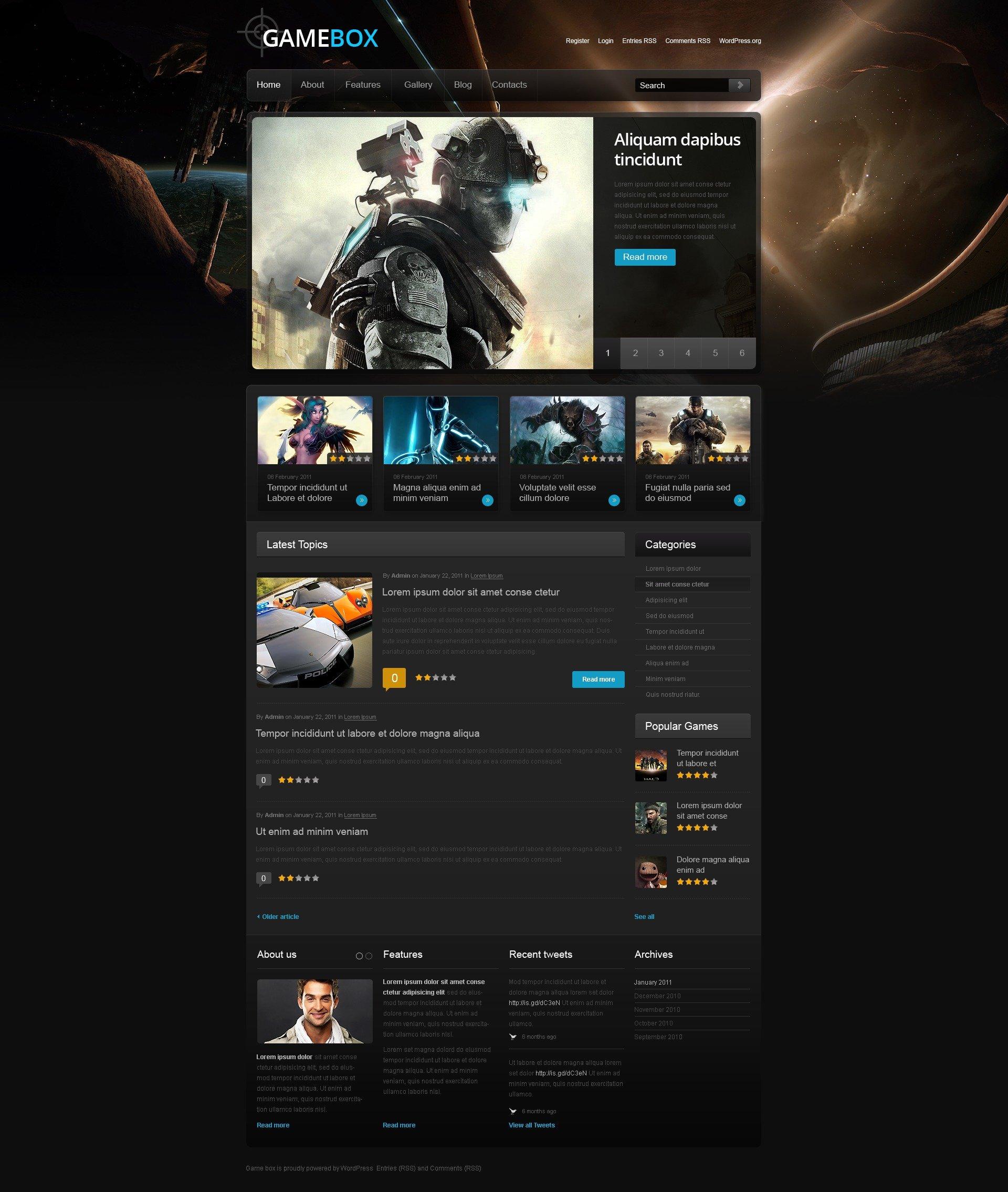 WordPress thema over Game portal №40184 - screenshot