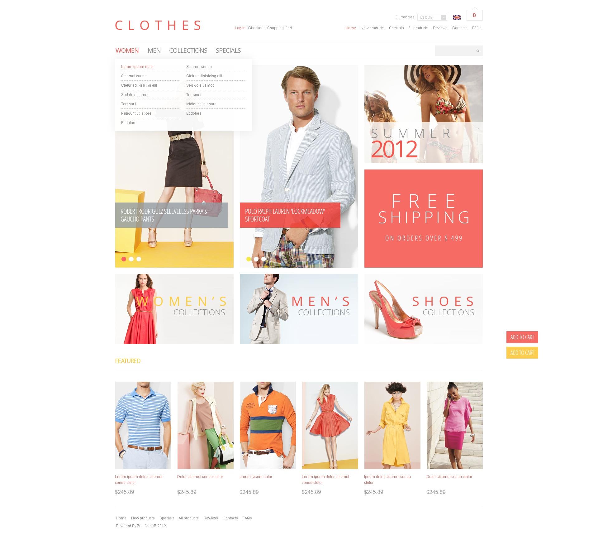 ZenCart шаблон на тему одяг №40118 - скріншот