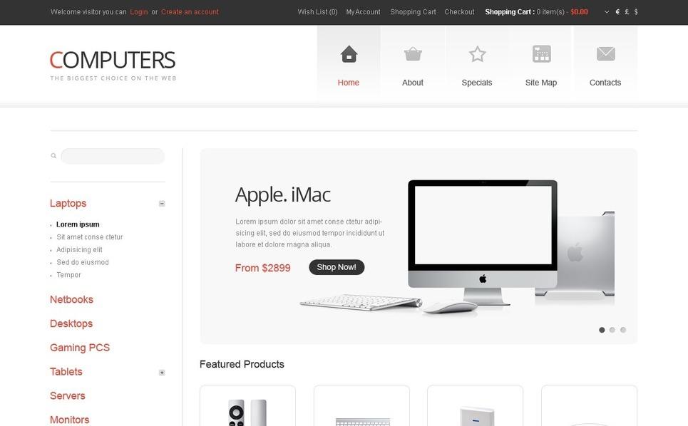 Szablon OpenCart #40219 na temat: sklep komputerowy New Screenshots BIG