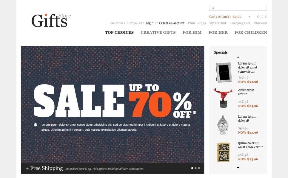 """OpenCart Vorlage namens """"Geschenke für jede Gelegenheit"""" New Screenshots BIG"""