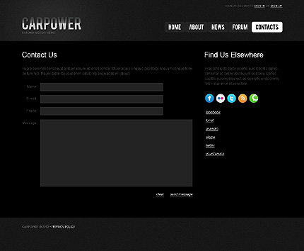 Template 40230 ( Contacts Page ) ADOBE Photoshop Screenshot