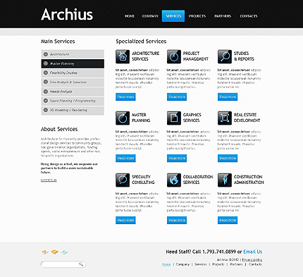 Template 40232 ( Services Page ) ADOBE Photoshop Screenshot