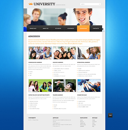 Template 40266 ( Admissions Page ) ADOBE Photoshop Screenshot