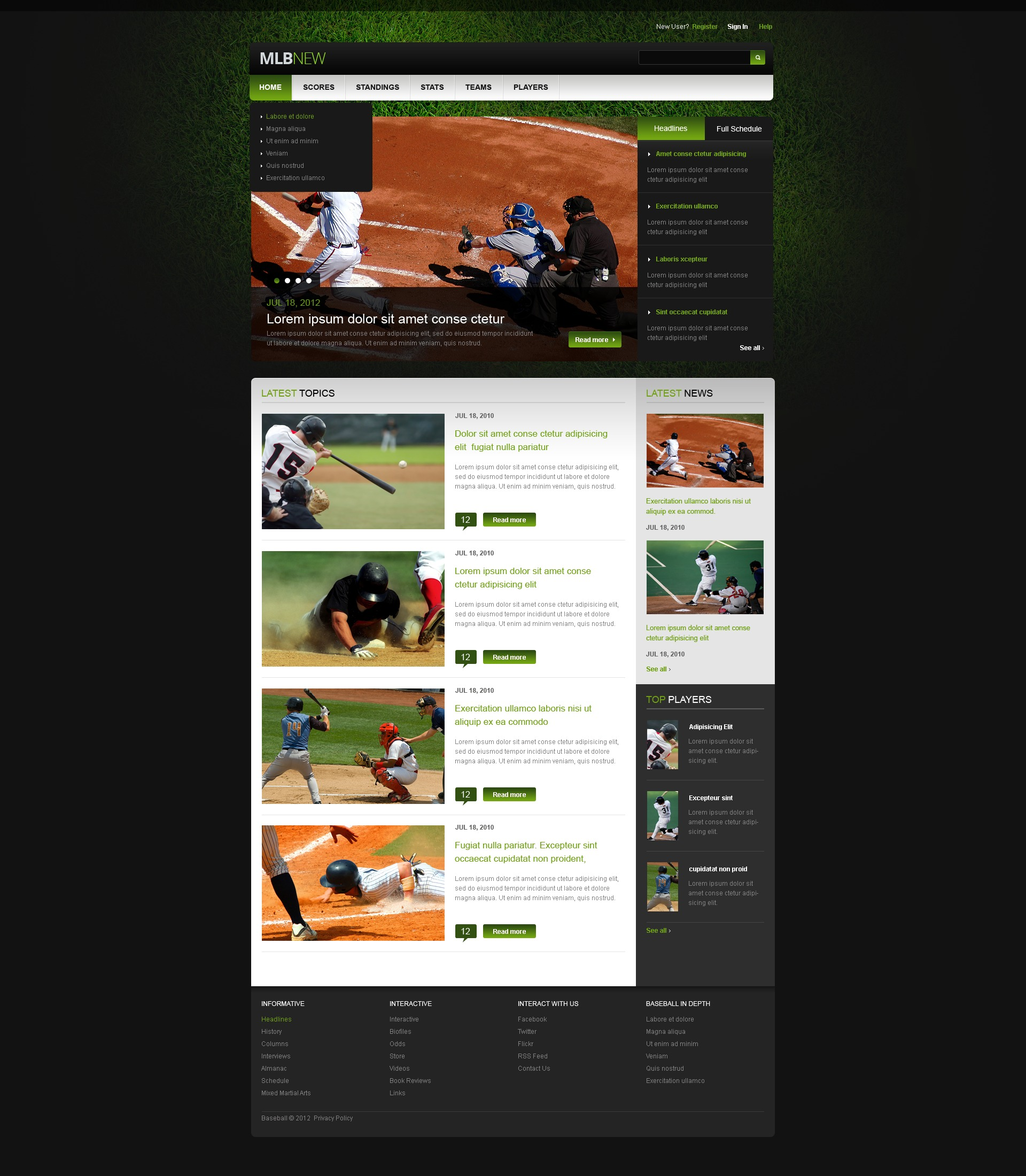 Baseball Website Template #40267