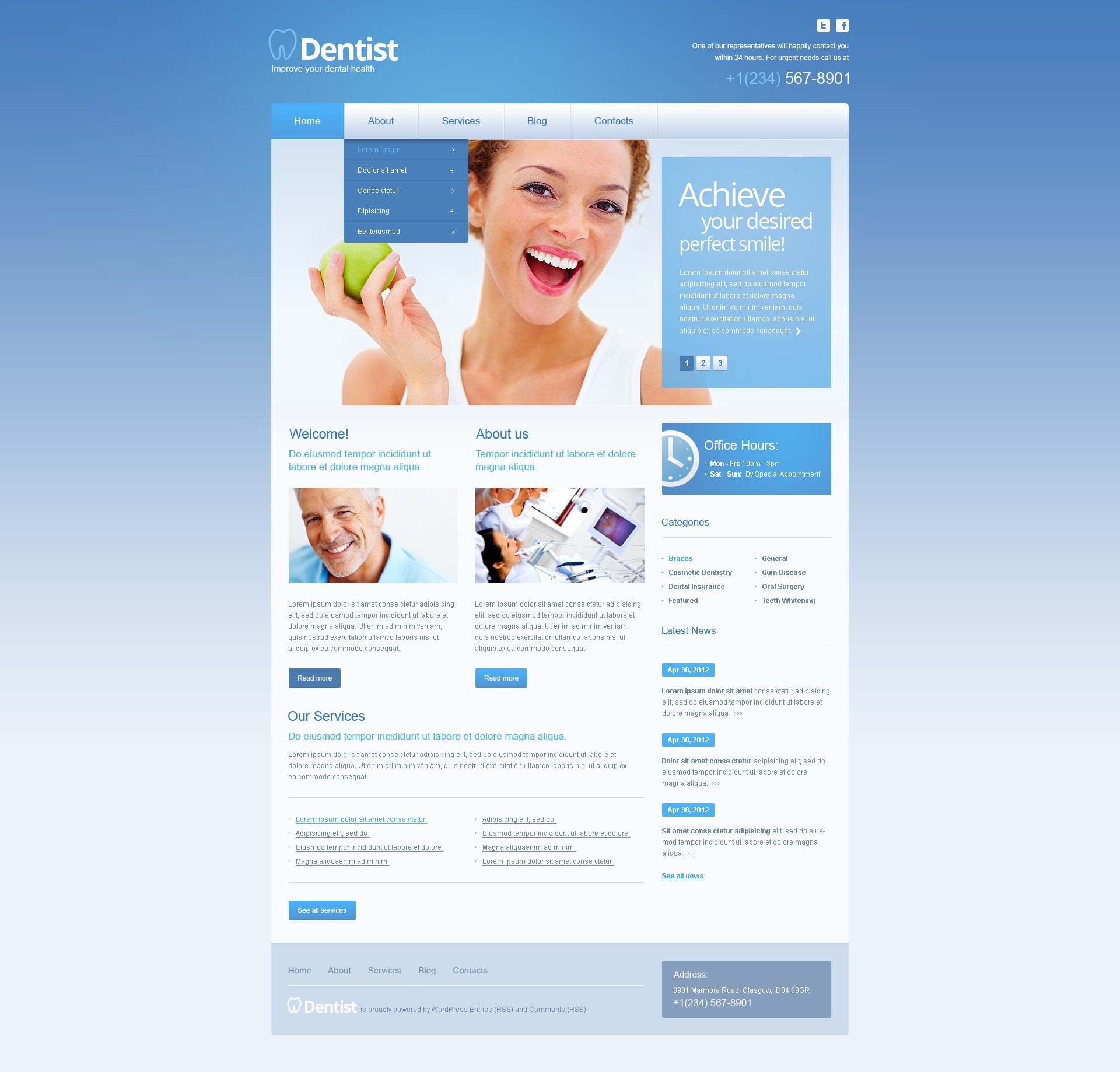 Tema De WordPress #40257 para Sitio de Odontología - captura de pantalla