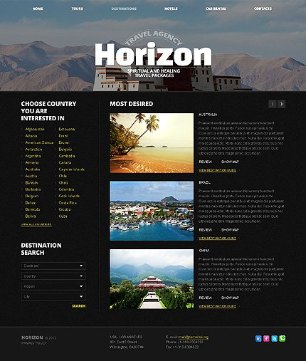 Template 40304 ( Destinations Page ) ADOBE Photoshop Screenshot
