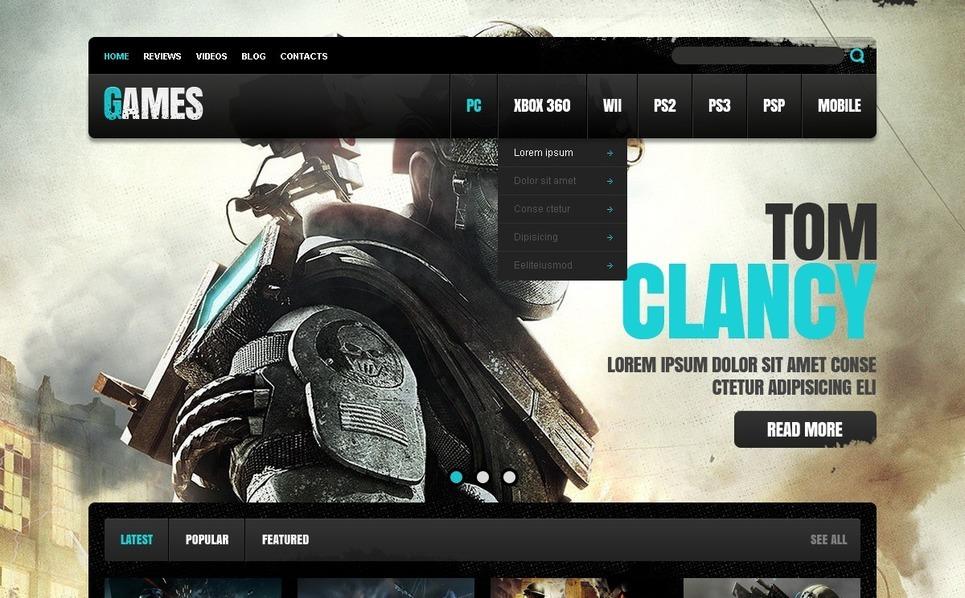Website template over Game Portal  New Screenshots BIG