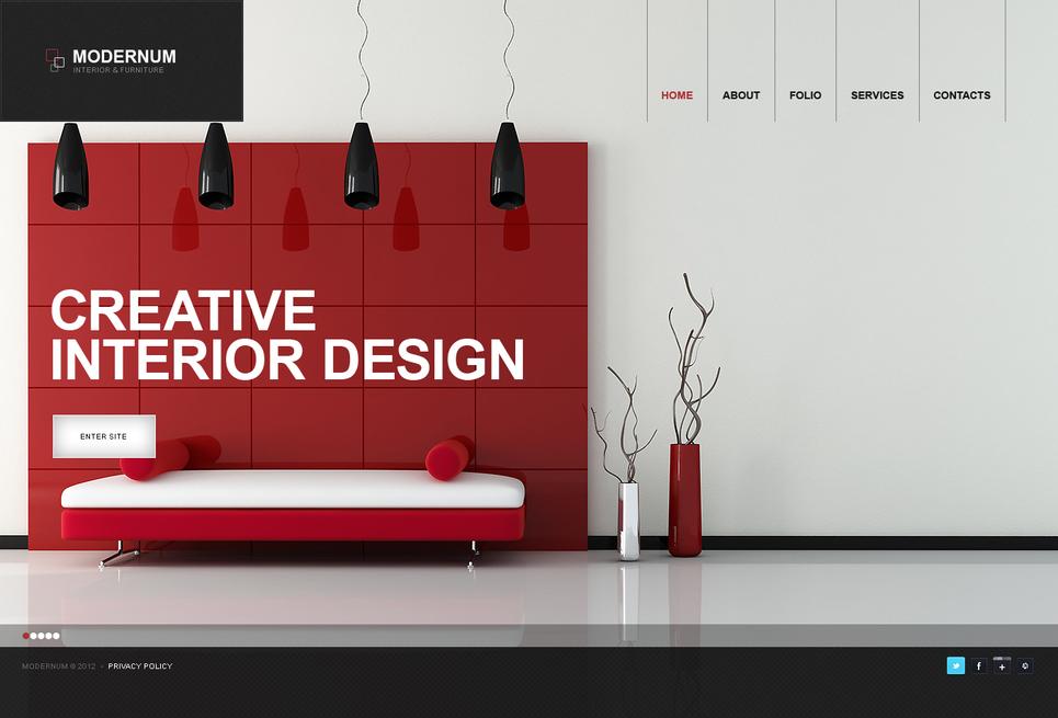 Creative Interior Design Website Template with a Background Slider - image