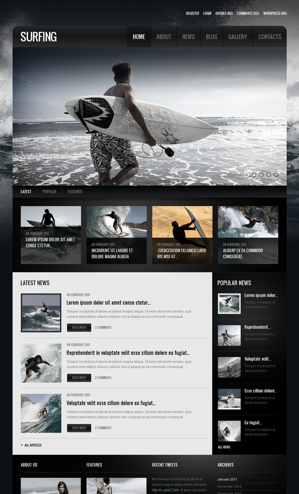 Extreme Surfing Website Template with Impressive Image Slider - image