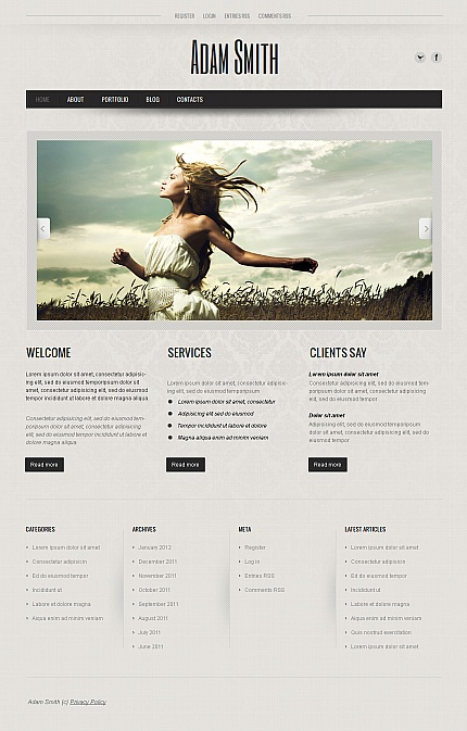 ADOBE Photoshop Template 40327 Home Page Screenshot