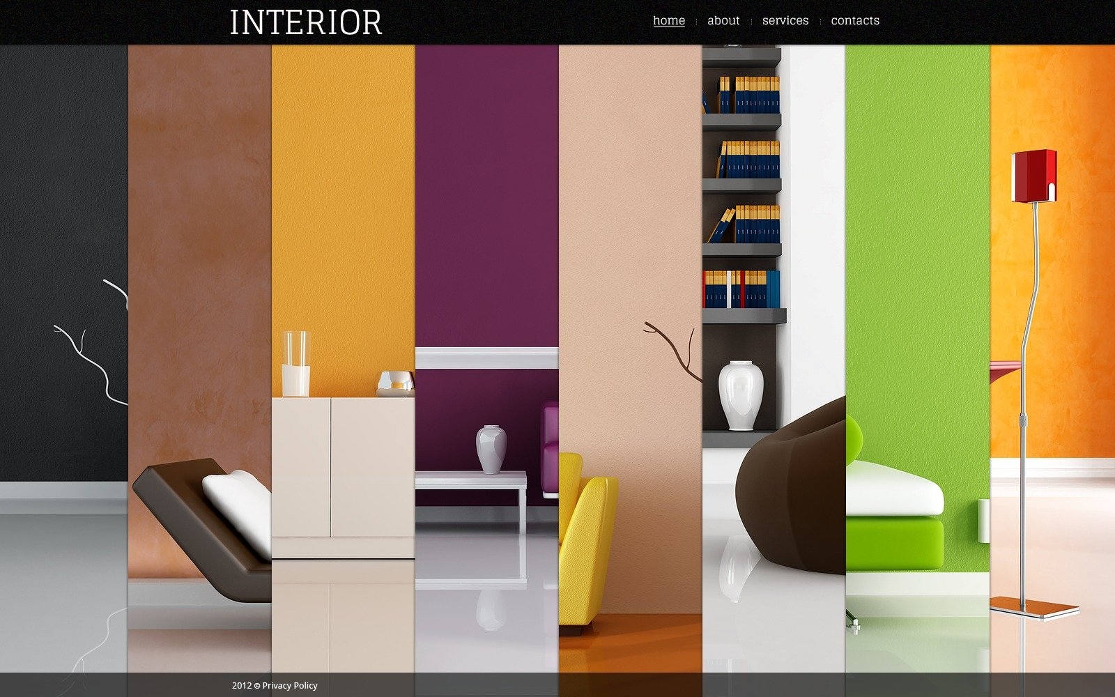 Interior design flash template 40372 for About us content for interior design company