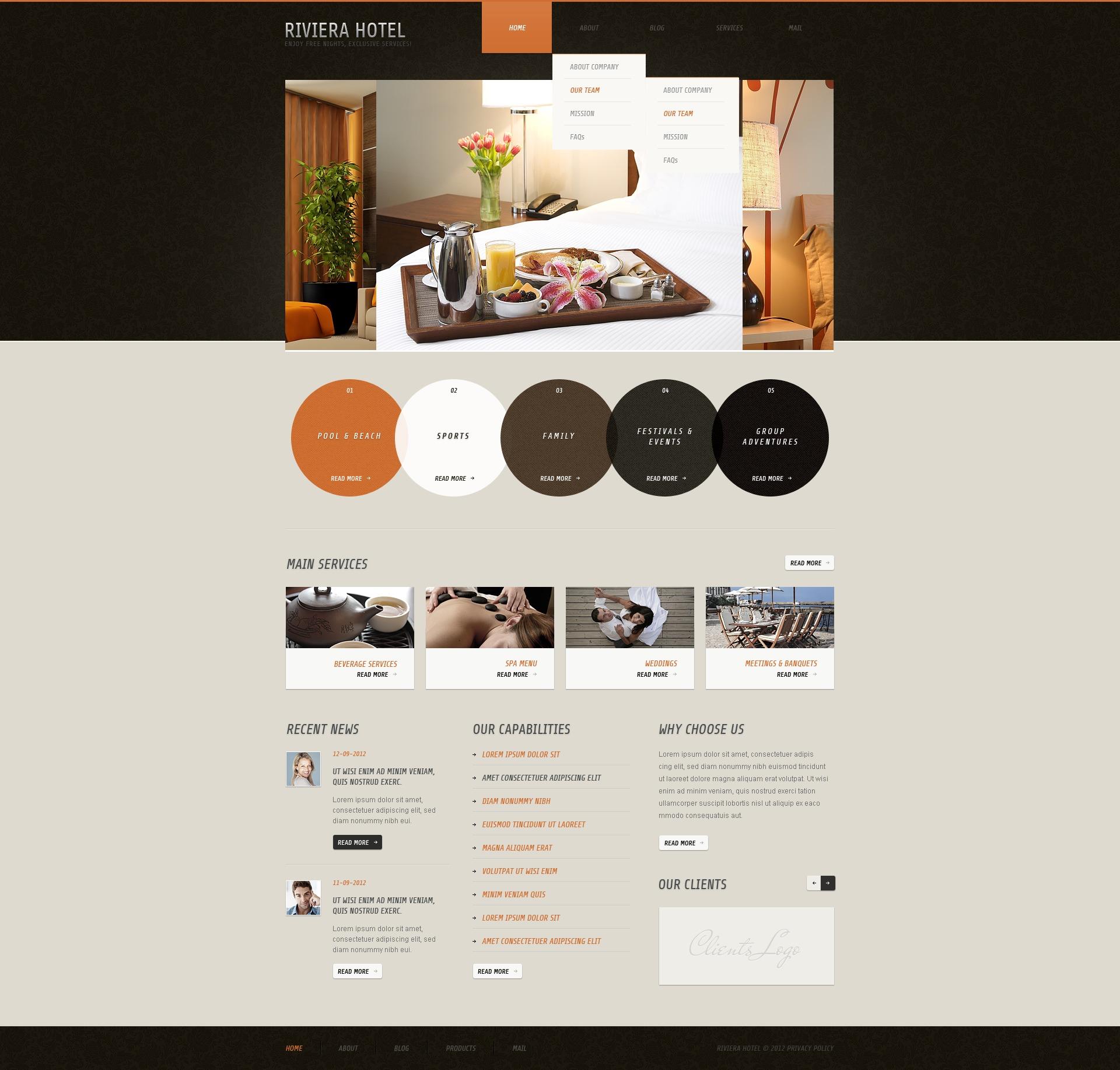 Motyw WordPress #40361 na temat: hotele - zrzut ekranu