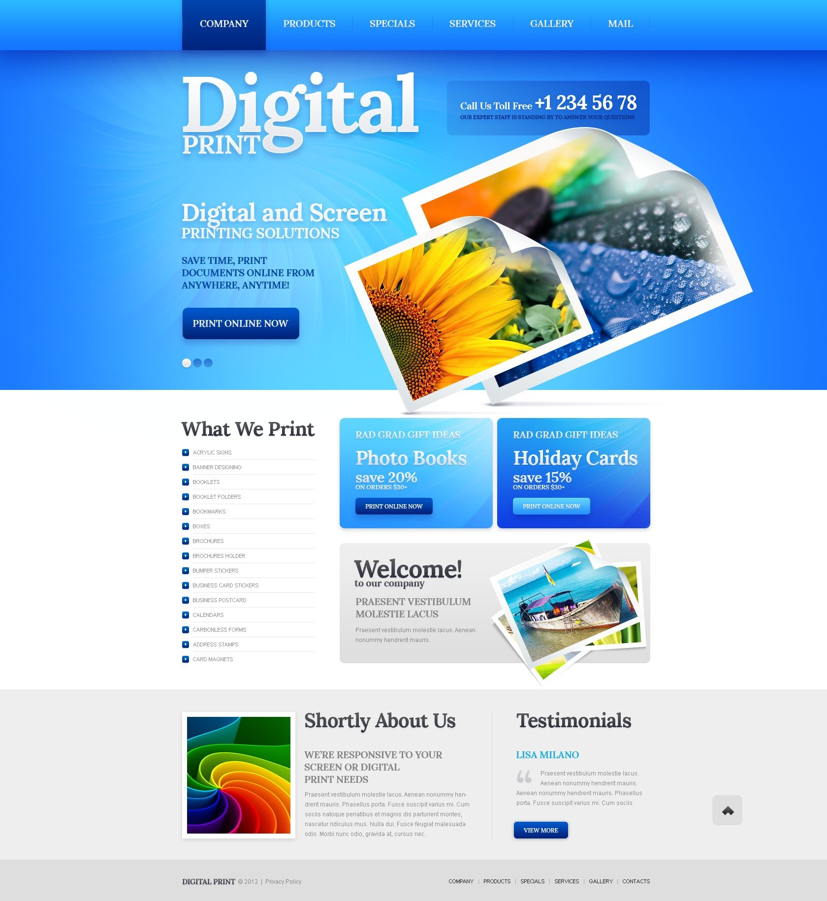 Print Shop Website Template - Business card website template
