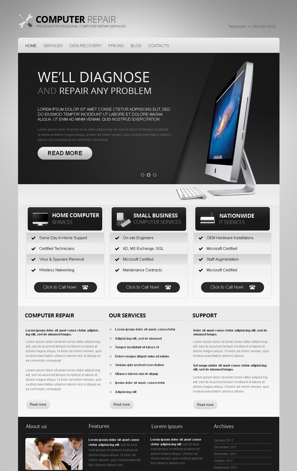 Computer Repair Company Template in Black and White Color Scheme - image
