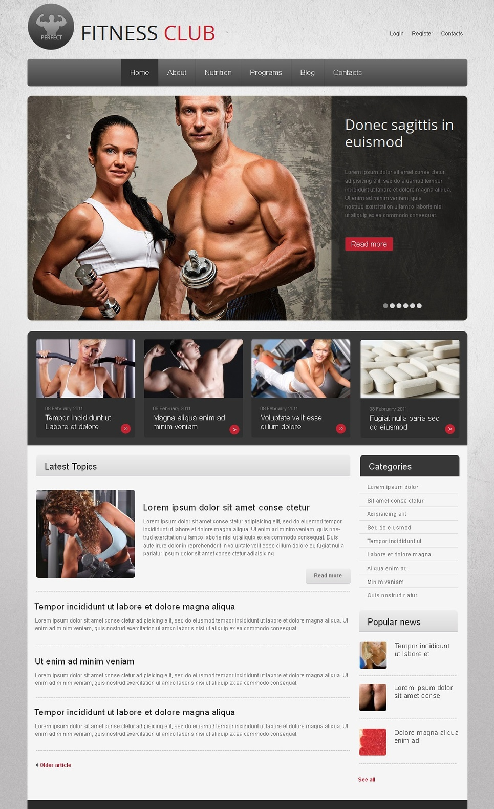 Fitness Club Website Template Designed In Gray Tones - image