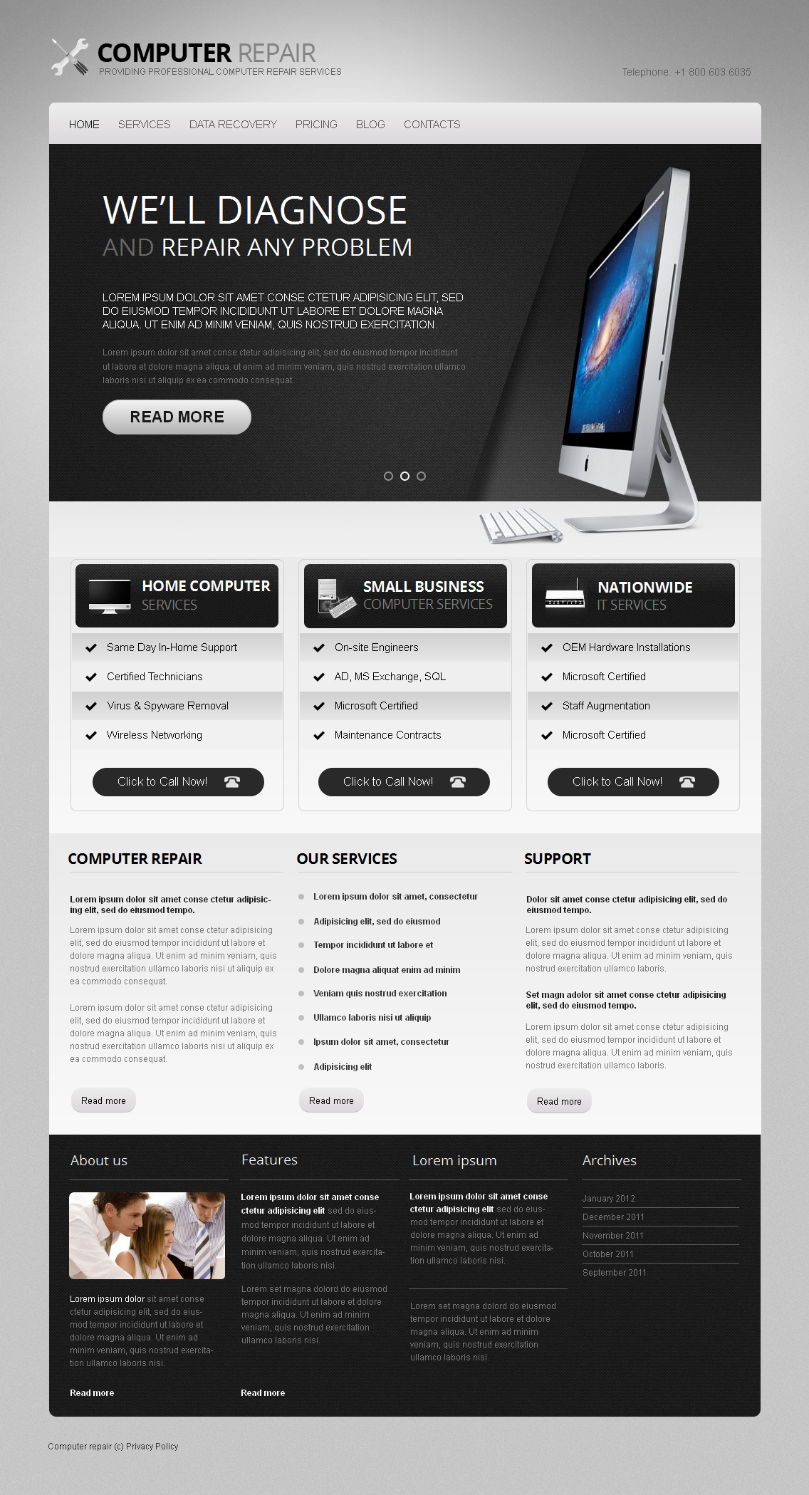 Computer Repair Moto CMS HTML Template - screenshot