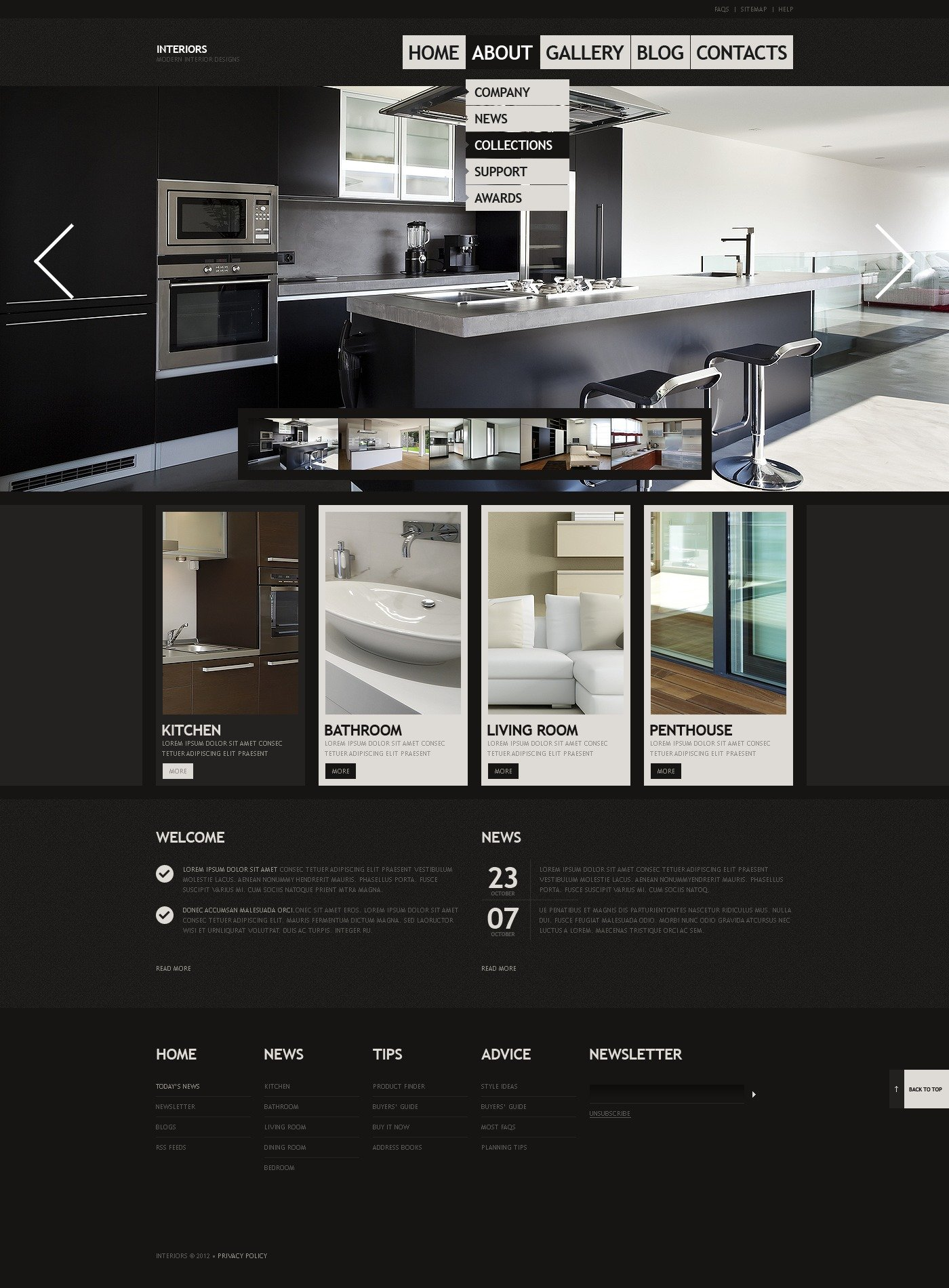 Interior design website template 40455 for Interior design layout templates
