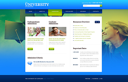Template 40500 ( Admissions Page ) ADOBE Photoshop Screenshot