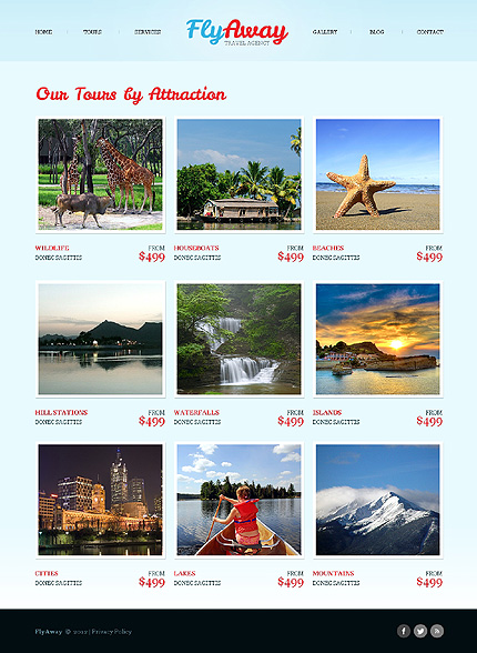 Template 40503 ( Tours Page ) ADOBE Photoshop Screenshot