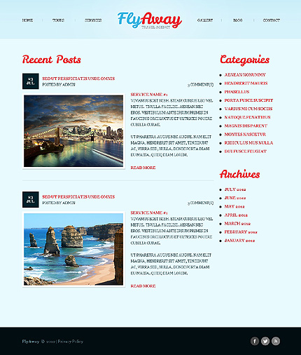 Template 40503 ( Blog Page ) ADOBE Photoshop Screenshot