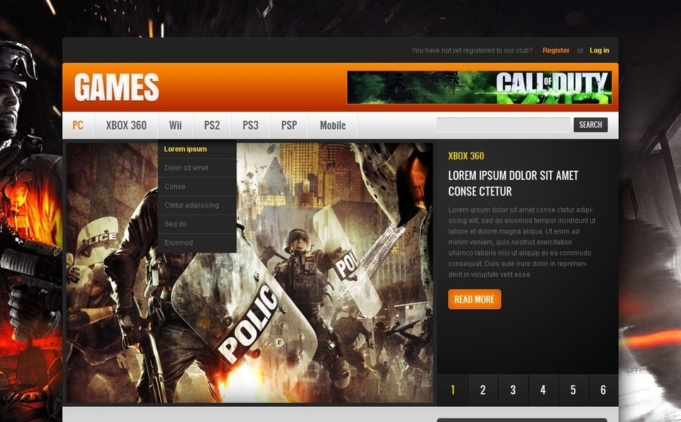 Website template over Game Portal  New Screenshots BIG