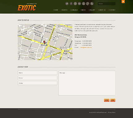 Template 40510 ( Contact Page ) ADOBE Photoshop Screenshot