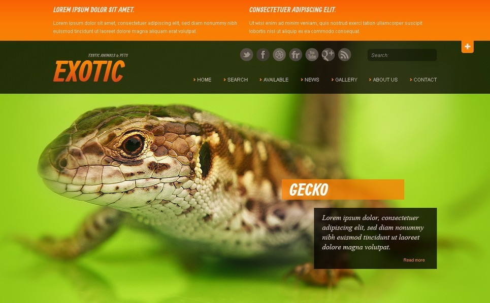 Plantilla Web #40510 para Sitio de Mascotas exóticas New Screenshots BIG