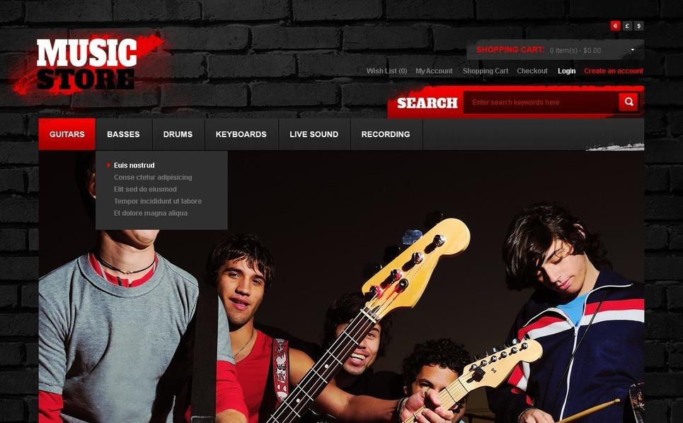 OpenCart шаблон на тему музичний магазин New Screenshots BIG