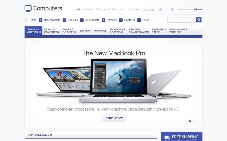 ZenCart Vorlage für Computergeschäft  New Screenshots BIG