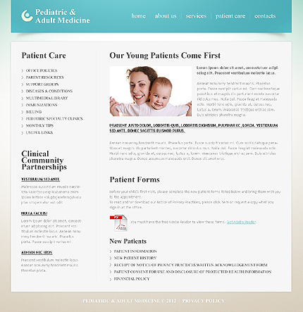 Template 40551 ( Patient Care Page ) ADOBE Photoshop Screenshot