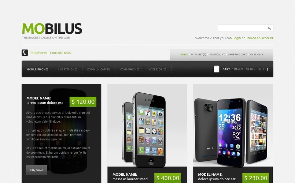 Mobil áruházak OpenCart sablon New Screenshots BIG