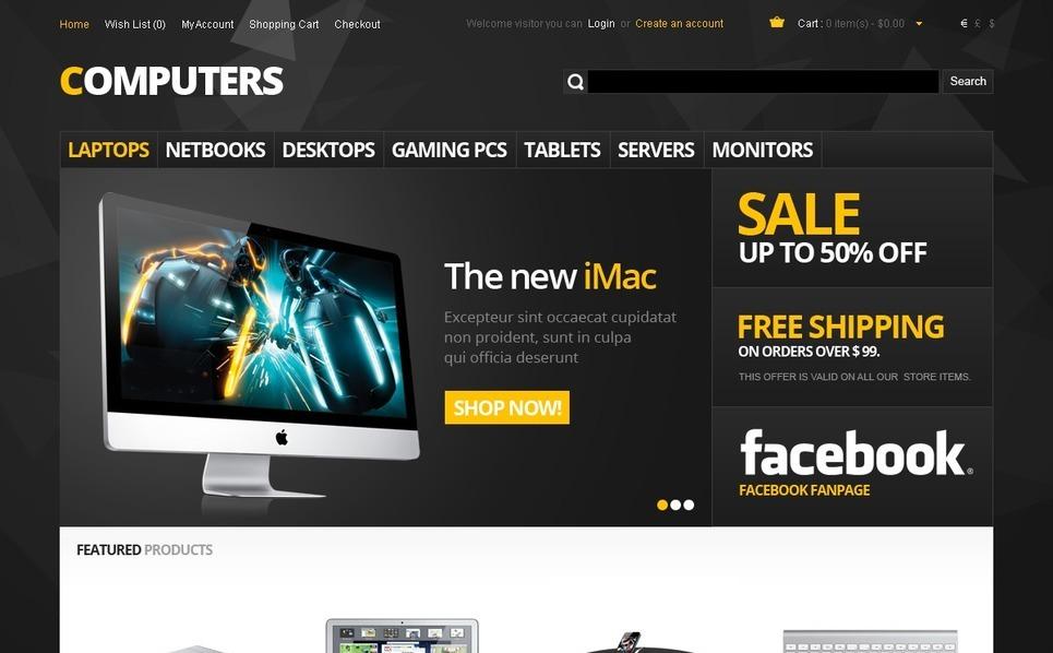 Számítástechnikai üzletek OpenCart sablon New Screenshots BIG