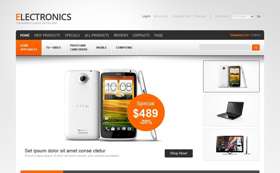 Template ZenCart  para Sites de Loja de Eletrônicos №40588 New Screenshots BIG