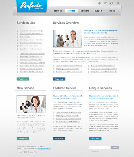 Template 40591 ( Services Page ) ADOBE Photoshop Screenshot