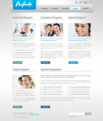 Template 40591 ( Support Page ) ADOBE Photoshop Screenshot