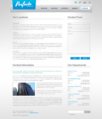 Template 40591 ( Contacts Page ) ADOBE Photoshop Screenshot
