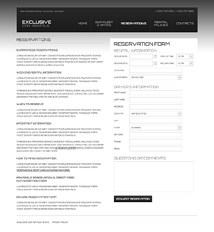 Template 40596 ( Reservations Page ) ADOBE Photoshop Screenshot