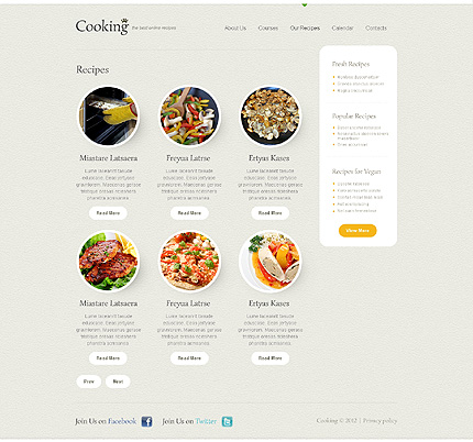 Template 40597 ( Our Recipes Page ) ADOBE Photoshop Screenshot