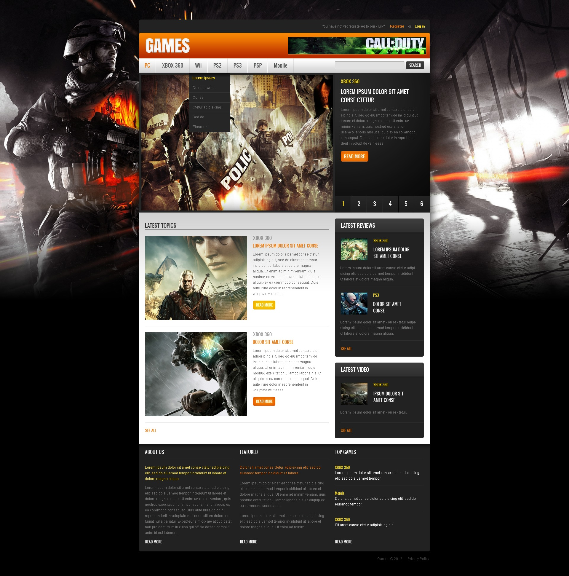 Home Design Website Templates Free Download: Game Portal Website Template #40507