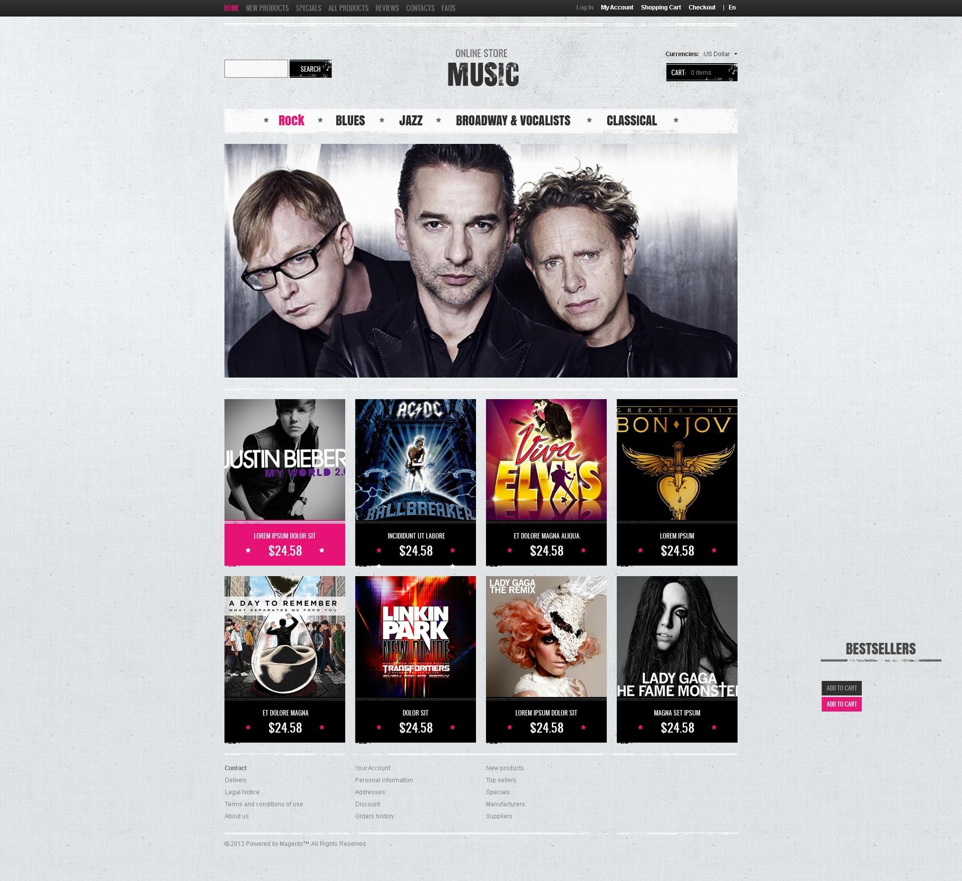 Music store ZenCart Template - screenshot