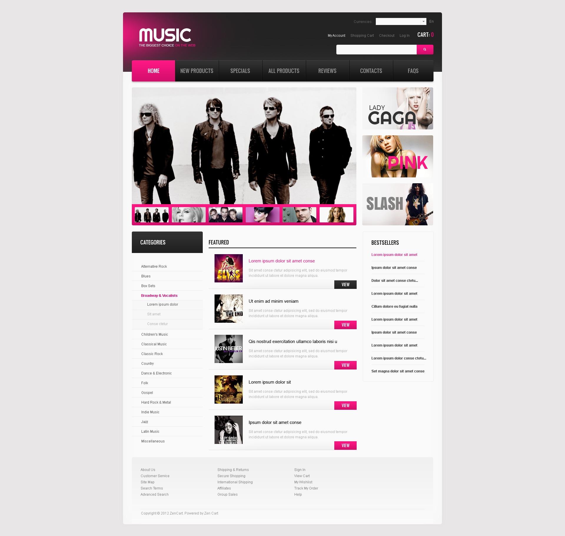 Szablon ZenCart Music for Any Mood #40542 - zrzut ekranu