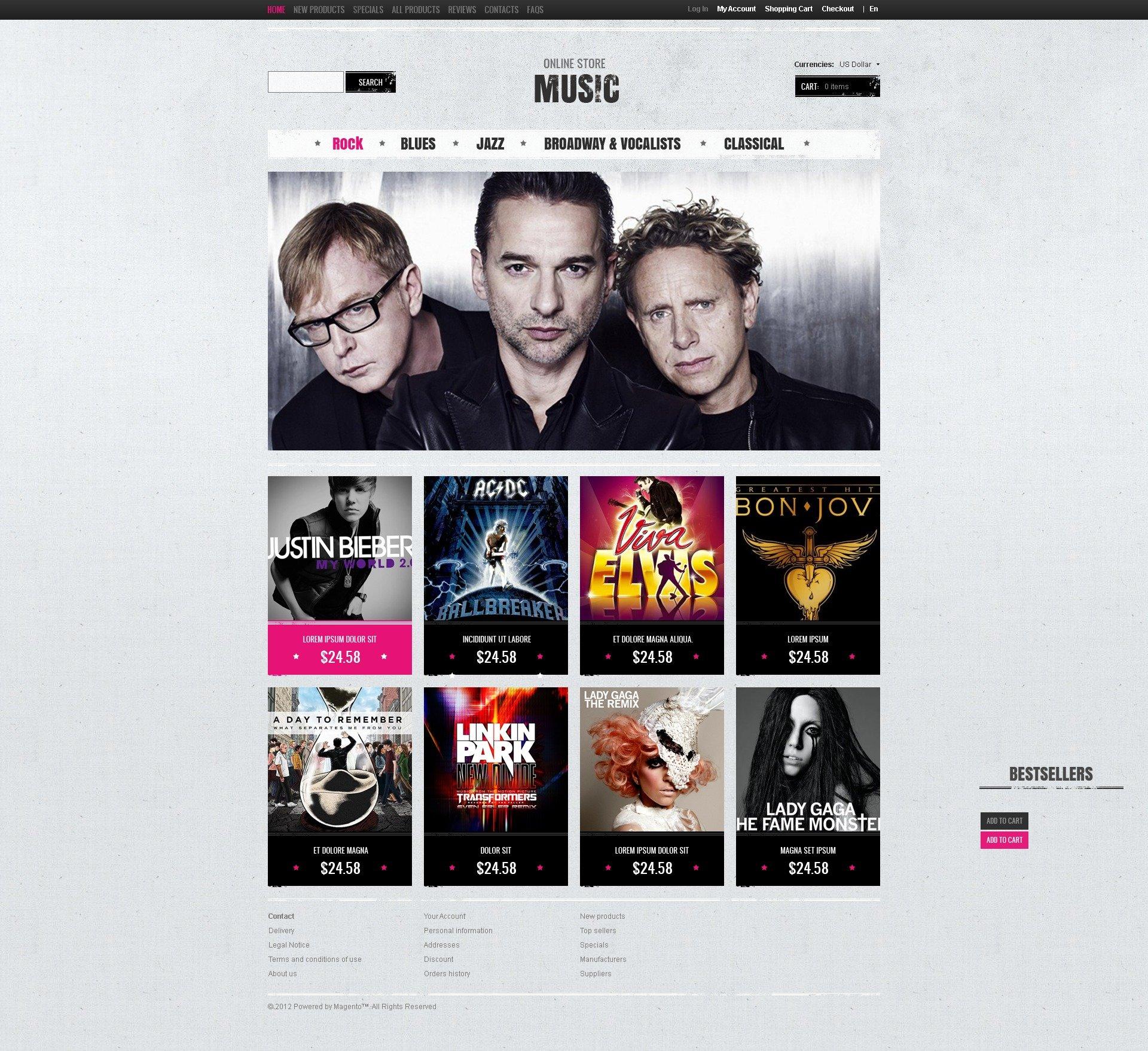 "ZenCart Vorlage namens ""Musikshop"" #40590"