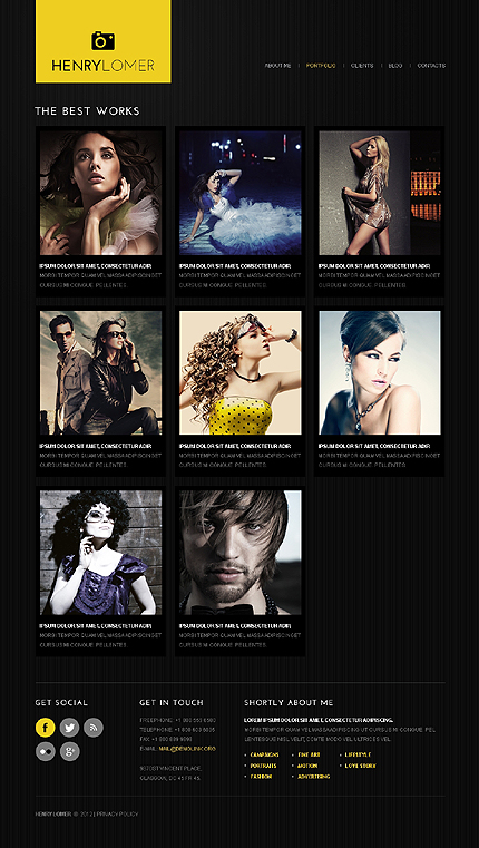 Template 40601 ( Portfolio Page ) ADOBE Photoshop Screenshot