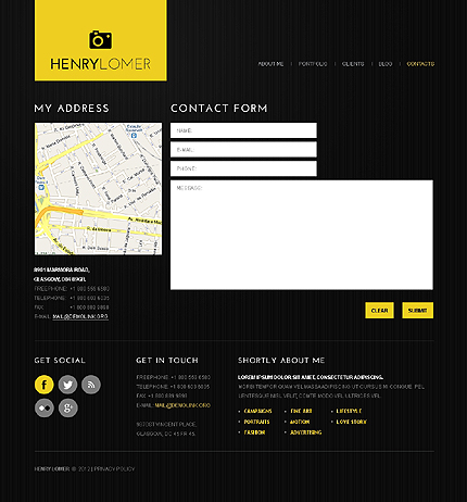 Template 40601 ( Contacts Page ) ADOBE Photoshop Screenshot