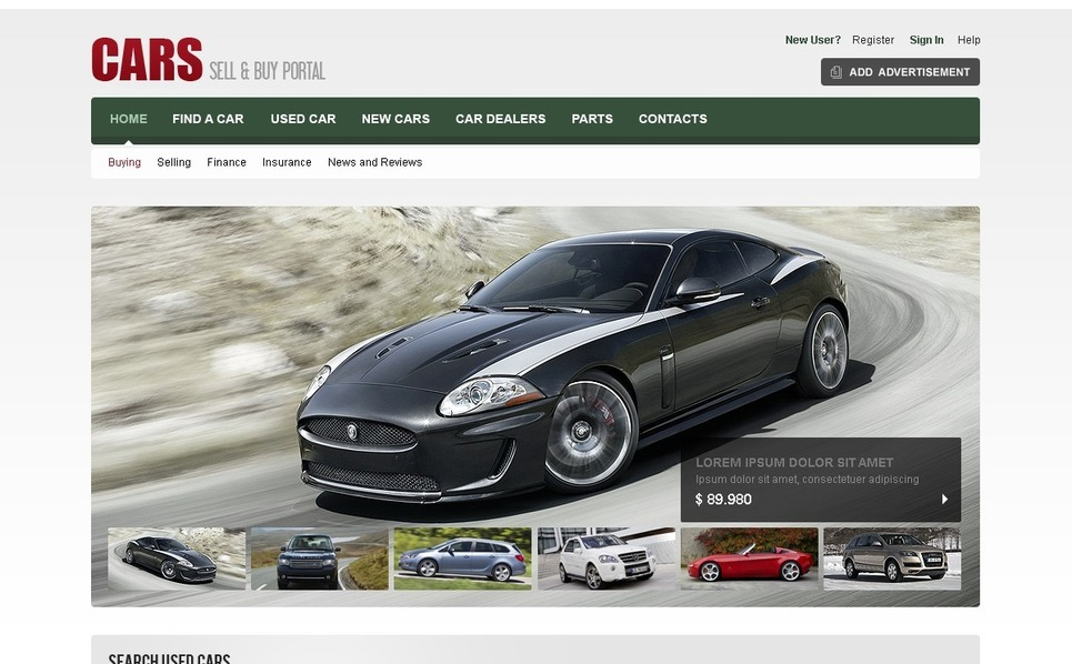 Modèle Flash CMS  pour site d'automobiles New Screenshots BIG