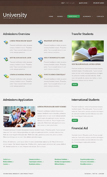 Template 40650 ( Admissions Page ) ADOBE Photoshop Screenshot