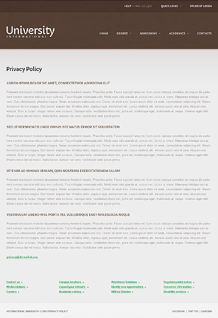Template 40650 ( Privacy Policy Page ) ADOBE Photoshop Screenshot